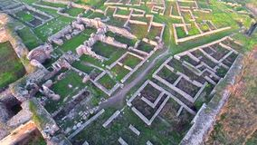 Over the archaeological site stock video footage