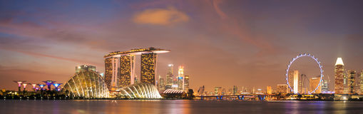 Over around of Singapore cityscape in twilight scene. Royalty Free Stock Photography