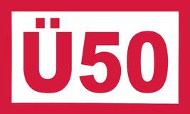 Over 50 birthday - Ü50 german. Vector Royalty Free Stock Image