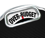Over-Budget Words on Scale Financial Trouble Debt Deficit. The words Over-Budget on a scale, illustrating financial problems such as debt, deficit, over spending Royalty Free Stock Photography