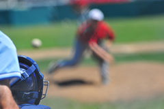 Over the catchers shoulder stock photography
