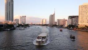 Over Chao Phraya River stock video