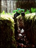 Over the chasm. Monster truck riding above the chasm Stock Photography