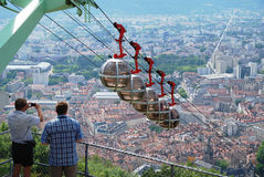 Over the city Grenoble. Stock Photography