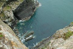 Over the cliff. View over a high cliff to the sea below Stock Images