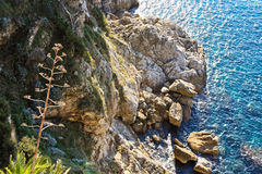 Over the cliff. Looking down at cliffs and Mediterranean sea in Dubrovnik, Croatia Stock Photos