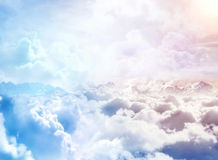 Over the Clouds. Fantastic background with clouds and mountain peaks Stock Photography
