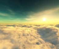 Over the clouds. A panorama of the sunset in the clouds, 3D rendering royalty free illustration