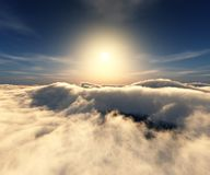 Over the clouds. A panorama of the sunset in the clouds, 3D rendering stock illustration