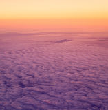 Over the clouds. Sky and clouds taken image form above while flying in a plane Stock Photos