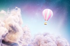 Over the Clouds. Unusual 3d illustration of an air balloon over Fantastic clouds royalty free illustration