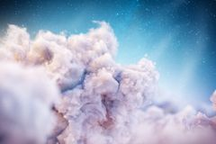 Over the Clouds. Unusual 3d illustration of Fantastic clouds stock illustration