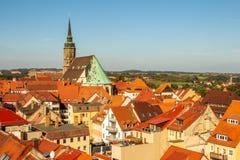 Over de daken van Bautzen Saksen Duitsland stock afbeelding