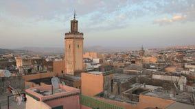Over de daken van Fes, Marokko Stock Foto