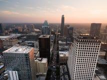 Over Downtown Austin Texas Main Street Traffic Sunset Stock Photo