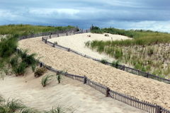 Over the dunes. Pathway lined by fencing over the dunes to the ocean Royalty Free Stock Photos