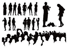 Over fifty silhouettes stock illustration