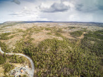 Over the forest and the river near the winding road Royalty Free Stock Photography