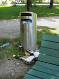 Over full trash can in city park Royalty Free Stock Images