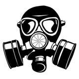 Over geïsoleerde de stencil van het gasmasker Stock Afbeelding
