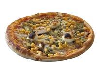 Over geïsoleerde pizza Royalty-vrije Stock Afbeelding