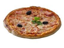 Over geïsoleerde pizza Stock Fotografie
