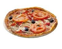 Over geïsoleerde pizza Stock Afbeeldingen