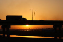 Over Head Bridge At Sunset Royalty Free Stock Photography