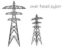 Over head pylon silhouette on white background Stock Image