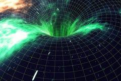 Over het heelal Het reizen in ruimte Tijdreis Scène van het overwinnen van de tijdelijke ruimte in kosmos het 3d teruggeven stock illustratie