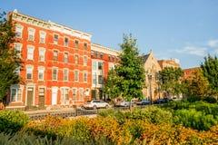 Over het Rijn-district in Cincinnati Van de binnenstad, Ohio in de Was stock afbeeldingen