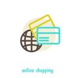 Over het winkelen op het netto ontwerp van de conceptenillustratie Royalty-vrije Stock Afbeelding