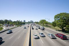 Over the Highway. Traffic moving along both directions of a highway Royalty Free Stock Photos