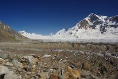 Over the hispar. View of hispar pass, ogre peak and hispar glacier by the way of biafo hispar trek, karakoram range Stock Photography