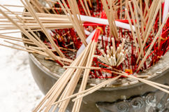 Over incenses stick in thai temple Royalty Free Stock Photography