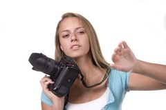 Over just a bit... Teen with still camera Stock Image