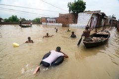 Over 16 lakh affected in UP floods in India Stock Photos