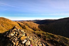 The head of Bakestone Head. Over Little Hart Crag to Kidsty Pike and High Street Royalty Free Stock Photography