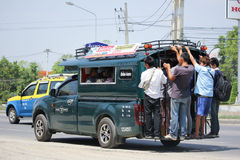 Over Load People of Green mini truck taxi chiangmai. Royalty Free Stock Photo