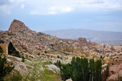 Over looking ancient city of Goreme, Cappadocia. Turkey Royalty Free Stock Image