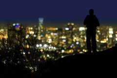 Over looking Los Angeles California at night royalty free stock photography