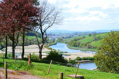 Over Looking River Dart Toward Totnes Devon England. Along the River Walk between Ashprington and Totnes Devon Uk many beautiful views can be seen as this is Royalty Free Stock Images