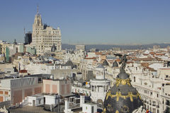 Over Madrid. View of the capital of Spain stock photo