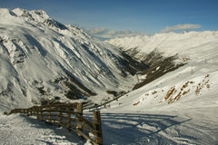 Over a mountain valley. Mountain-skiing Austria. On lines. A kind on a valley Royalty Free Stock Images
