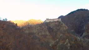 Over the mountains. Fortress Poenari. Over the mountains.Poenari fortress, aerial. Transfagarasan Landscape stock video footage