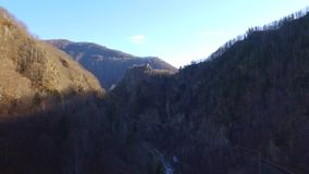 Over the mountains. Fortress Poenari stock video