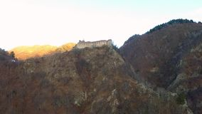 Over the mountains. Fortress Poenari. Over the mountains.Poenari fortress, aerial. Transfagarasan Landscape stock video