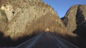 Over the mountains and road. Over the mountains. aerial. Transfagarasan Landscape stock video