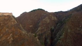 Over the mountains and road. Over the mountains.Poenari fortress, aerial. Transfagarasan Landscape stock video footage