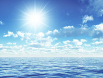 Over the ocean. Ilustration of a shining sun upon the ocean Stock Image